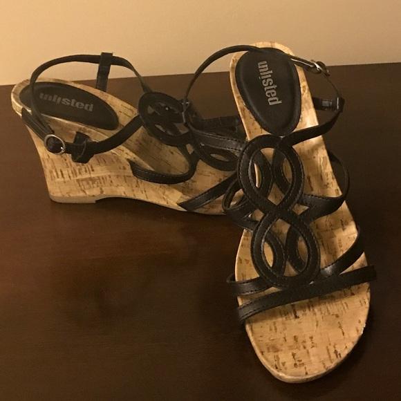 956a1a7e4d5 EUC Unlisted wedge sandals. Size 10 Black. M 5ade8f2436b9de4719d6e500